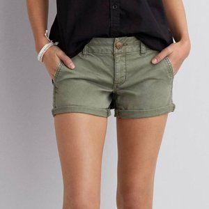 American Eagle Twill Midi Stretch Shorts